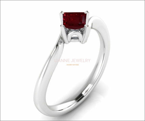 Twist Solitaire Red Engagement Ring Square cut Princess cut Ruby Minimalist Ruby Ring made in 14K or 18K White gold Birthday Gift - Lianne Jewelry