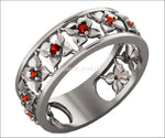White Gold Red Flower Eternity Wedding band Ring Leaf ring Filigree band Friendship Red Floral Jewelry Width 6.9 mm - Lianne Jewelry