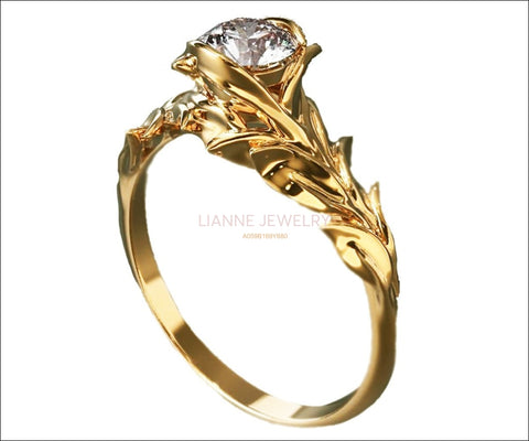 Leaves Engagement Ring,Branch Ring, Twig Ring, Gold and Diamond Engagement Ring - Lianne Jewelry