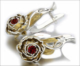 Ruby Floral Studs Red Stud Earrings Vintage Earrings Woman Gift Leverback 2 Tone Flower Earrings Filigree Earrings for Her 14K Gold - Lianne Jewelry