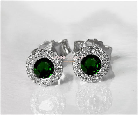 Emerald Studs Halo Earrings surrounded with Diamonds Birthday Gift Minimalist Earrings Sunflowers Earrings 14K or 18K White gold - Lianne Jewelry