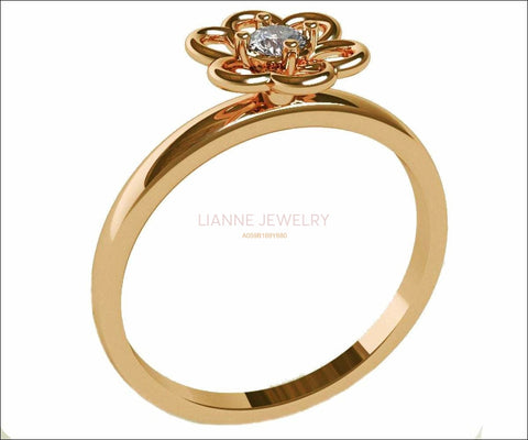 Gold Flower Diamond Ring, Yellow Gold Solitaire Diamond Engagement Ring, Engagement Flower Ring, Diamond Flower Engagement Ring, Flower Ring - Lianne Jewelry