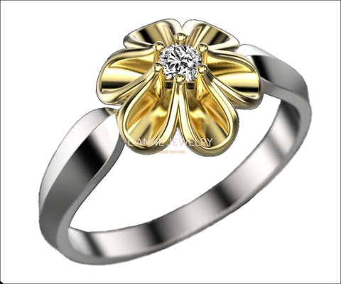 Leaves Engagement Ring 2 Tone Flower Leaves Ring Promise Ring Unique Engagement Ring Floral ring Birthday Gift For Her in 18K Gold - Lianne Jewelry