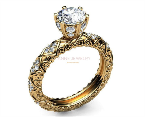Unique Milgrain Engagement ring 18K Gold Ring Vintage Ring 6 double prongs in high setting - Lianne Jewelry