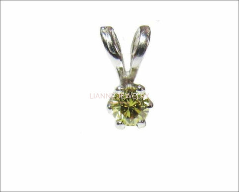 SALE 50% Off Diamond Pendant Fancy color Champagne Greenish Round brilliant cut 14K Gold - Lianne Jewelry