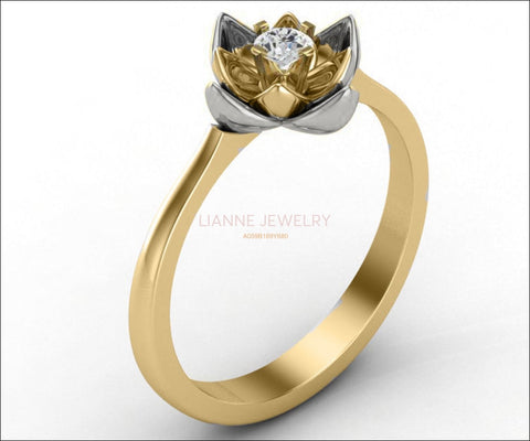 Rose Flower Engagement Ring, Lotus Ring, Open Flower with Diamond inside - Lianne Jewelry
