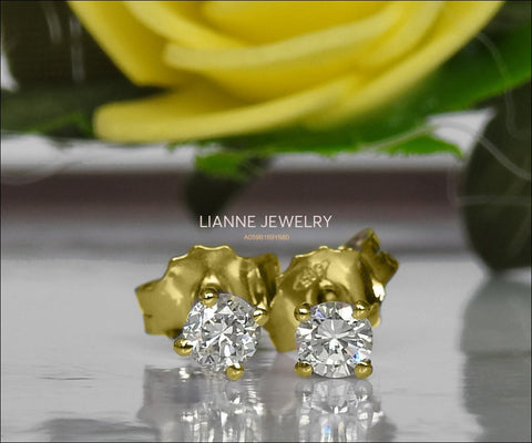 18K gold Earrings 18K Yellow gold Earrings Celtic Earrings Diamond Earrings Stud Earrings Martini Earrings 0.38ct Anniversary - Lianne Jewelry