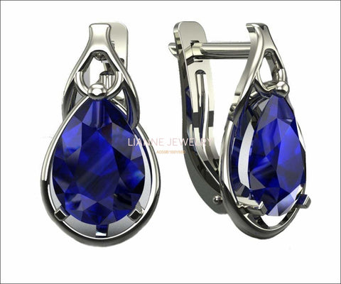 Blue Sapphire Leverback Earrings Pear Shape Sapphires Avant Garde Anniversary Earrings White Gold Earrings Art Nouveau Earrings in 14K 18K - Lianne Jewelry