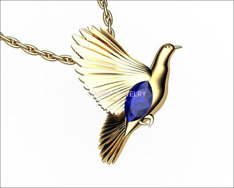 Bird Pendant Minimalist pendant 14K yellow gold Blue Pendant Wings Pendant Peace Bird Sapphire Pendant Marquise stone including chain - Lianne Jewelry