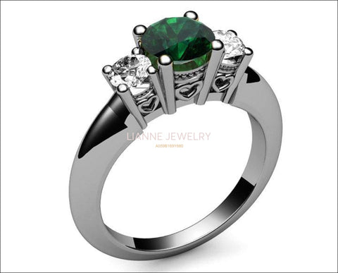14K White Gold Emerald Ring 3 stone Ring, Unique Engagement Ring, Heart Filigree, Promise Ring, Love Ring for Your Love One - Lianne Jewelry
