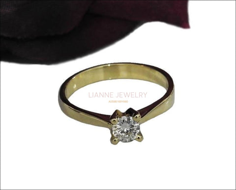 Diamond ring Wedding Gift, Unique Solitaire Ring Celtic Ring 14K Yellow Gold Classic | Wedding | Anniversary | Bridal | Promise Ring - Lianne Jewelry