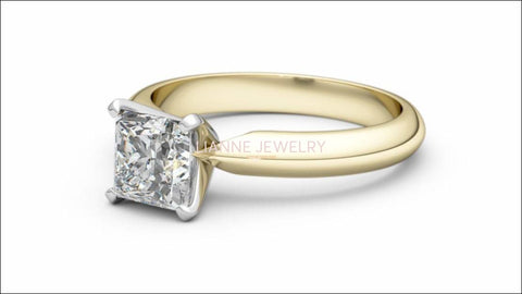 2 Tone Solitaire Engagement Ring with Princess cut Moissanite made in 14K or 18K white and Yellow gold - Lianne Jewelry