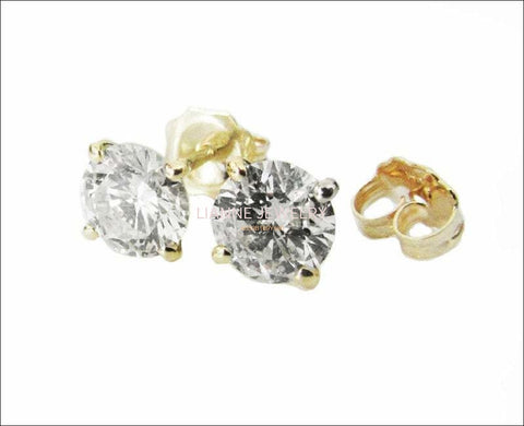 Studs Gold Earrings Stud Earrings 14K Yellow or White Gold with Moissanite 7 mm Round Brilliant cut - Lianne Jewelry