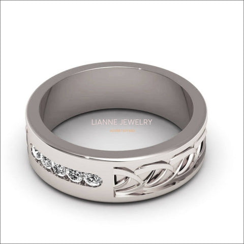 Womens ring Wedding ring Silver Wedding band engraved Celtic ring band ring for her ring band with diamonds for - Lianne Jewelry