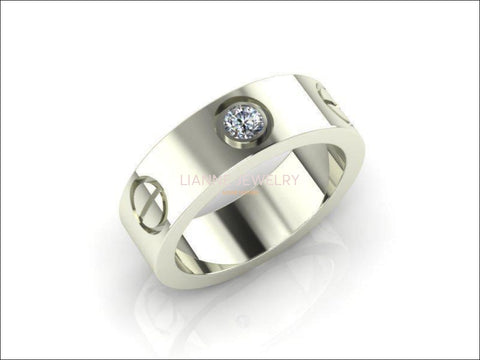 Custom order,  no diamond, gold plated Screw Ring Screw Band Silver Band Wedding Band Ring - Lianne Jewelry