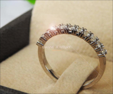 Vintage Half Eternity band  Diamond wedding band wedding band diamond band ring half eternity Stacking ring Minimalist ring 14K or 18K gold - Lianne Jewelry