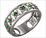 Plumeria Ring White Gold Green Flower Eternity Wedding band Ring Leaf ring Filigree band Friendship Green Floral Jewelry Width 6.9 mm - Lianne Jewelry