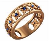 Plumeria Ring Rose Gold Blue Flower Eternity Wedding band Ring Leaf ring Blue Floral Jewelry 11th Blue Sapphires Width 6.9 mm - Lianne Jewelry
