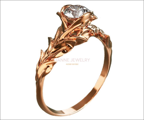 Rose Engagement Ring, 14K Rose Gold and Diamond engagement ring, engagement ring, leaf ring, flower ring, art nouveau, vintage style - Lianne Jewelry