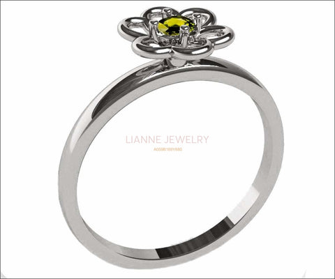 Yellow Sapphire Solitaire Ring Flower Ring White Gold Leaves Ring Branch Ring Art Nouveau Unique Engagement Flower Jewelry Engagement Gift - Lianne Jewelry