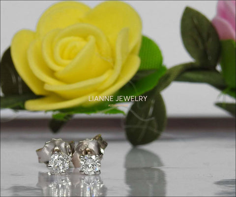 Celtic Earrings Diamond Earrings Stud Earrings Studs 14K or18K White gold Martini Earrings Diamonds 0.50 ct Round Anniversary Earrings - Lianne Jewelry
