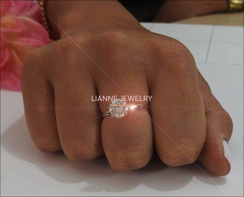 Diamond ring, Gold ring, Unique moissanite engagement ring Solitaire 14K White Gold - Lianne Jewelry