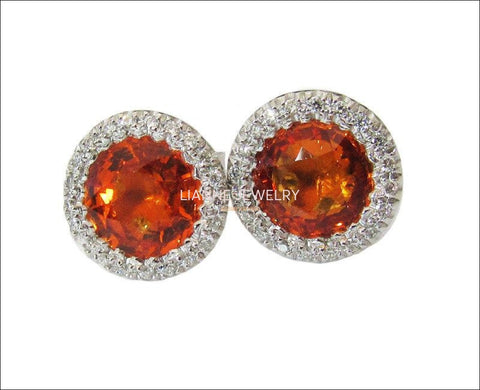 Vintage Orange Earrings Stud Earrings Circle Earrings Pave Diamonds Earrings Halo Earrings Art Deco Earrings Sapphires 14K white gold - Lianne Jewelry
