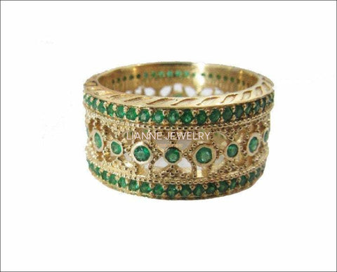 Eternity Ring Wedding Emerald Ring Edwardian Ring Anniversary Ring Wide Ring 124 stones 18K gold Anniversary Gift May Birthstone Valentines - Lianne Jewelry