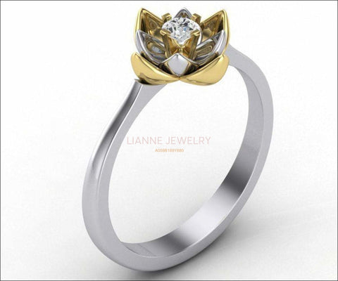 18K Lotus Flower Engagement Ring, Diamond Leaves Ring, 2 tone Gold Ring - Lianne Jewelry