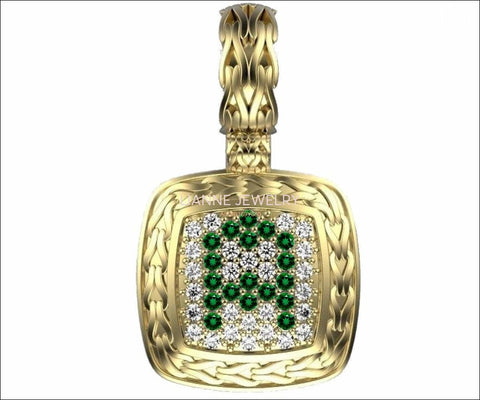 Personalized pendant Letter A Pendant Pave Pendant Emeralds and Diamonds Filigree Pendant Art Nouveau Yellow gold Anniversary Gift - Lianne Jewelry