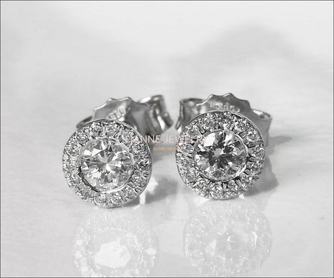 Halo Earrings Halo Studs Sun Earrings Sun Studs Diamond Earrings Stud Earrings 14K or 18K White gold Anniversary Earrings - Lianne Jewelry