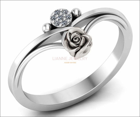 Birthday Gift Unique Flower and Sun Engagement Ring White Gold Flower Ring Promise Ring Floral ring Birthday Gift For Her - Lianne Jewelry