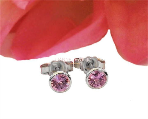 Pink Studs Girls Earrings Promise Earrings Gold Earrings Stud Earrings Pink Sapphire 18K White Gold Natural Color Earrings - Lianne Jewelry
