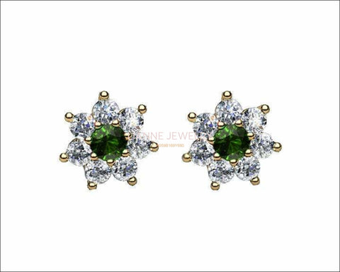 Emerald Flower Diamond Earrings, 14K Solid Gold Green Chatham Emeralds surrounded with Natural Top Diamonds - Lianne Jewelry
