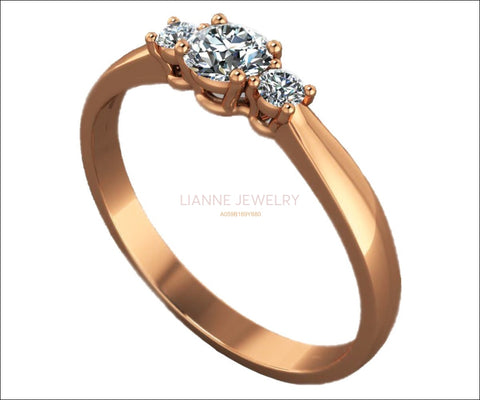 Classic 3 stone Diamond Engagement Ring Gold ring Diamond Engagement Ring Lover Ring Ring for Her Wedding Ring Promise Ring Anniversary Ring - Lianne Jewelry