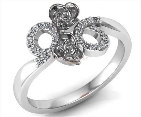 Unique Engagement Ring, 2 Flowers with Circle Pave Diamond Promise Ring - Lianne Jewelry