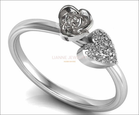 Heart Flower Rose Engagement Ring White Gold Flower Ring Promise Ring Unique Diamond Ring Floral ring Graduation Gift For Her day - Lianne Jewelry