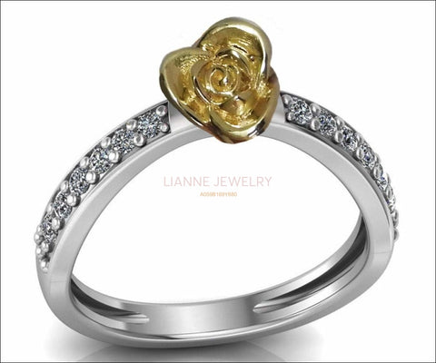 Contour Rose Flower Ring Yellow Rose Unique Engagement Ring 18K Gold Flower Ring Diamond Ring Art Nouveau Floral ring For Her - Lianne Jewelry