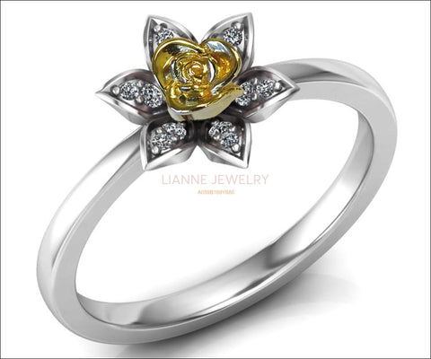 Unique Engagement Ring, Back to school Two Tone Yellow Rose & White Band, Flower Ring, Leaves Ring, Art Nouveau Floral ring, Birthday Gift - Lianne Jewelry