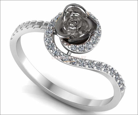 Twist Silver Flower Ring Love Ring Rose Floral Ring Promise Ring Unique Engagement Ring with Side Diamonds Valentine's Ring - Lianne Jewelry