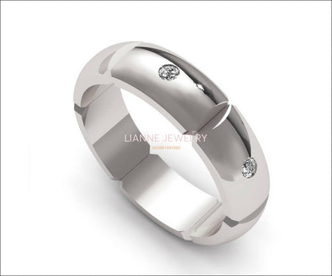 Rounded Diamond Grooms Silver band, Elegant Wedding Ring, Silver 925, Unique Mens Wedding Band, Engraved Wedding Band - Lianne Jewelry