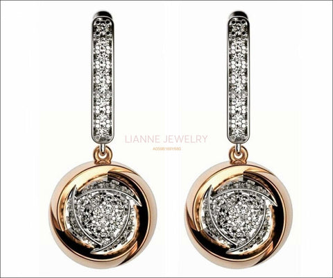 Anniversary Gift 2 Tone Dangle Circle Leverback 14K Diamond Earrings Round Hanging Pave Earrings Wedding Earrings Diamond Round Earrings - Lianne Jewelry