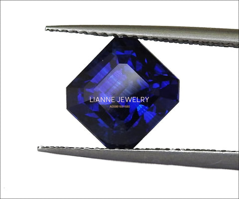 Blue Sapphire Fine Gemstone Certified by GRS 4.41 ct Octagon cut Emerald shape Genuine Sapphire for Collectors or for Valentines as Pendant - Lianne Jewelry