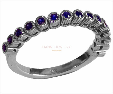 Wedding Band Sapphire Wedding Stacking Ring Sapphire ring Eternity ring 15th Anniversary September Birthstone 14K Solid White Gold - Lianne Jewelry