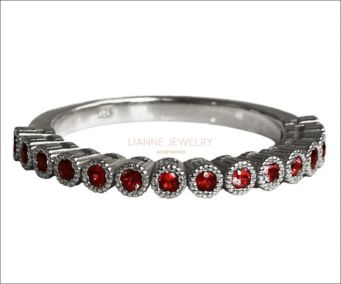 Silver Band Red Band 15th Anniversary Filigree Silver 15 Rubies 15 Years Ring Stacking ring Eternity Ring 15 Birthday July Birthstone - Lianne Jewelry