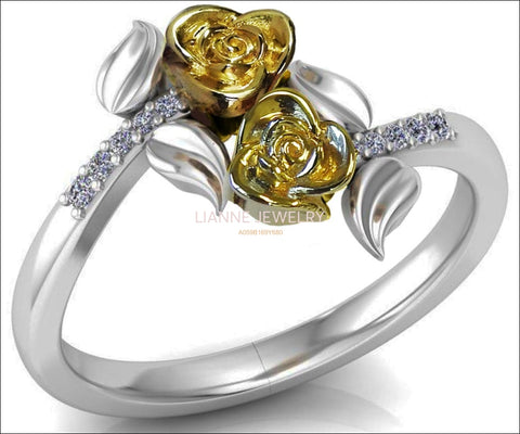 2 Tone Gold 2 Flowers Leaves Ring, Yellow & White Floral Ring, Promise Ring Unique Engagement Ring with Side Diamonds - Lianne Jewelry