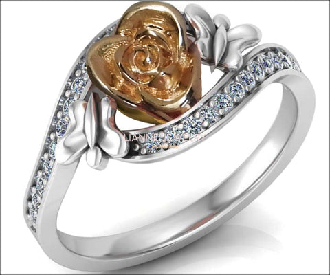 Unique Engagement Ring, Floral Ring, 2 Tone Rose Promise Ring, Rose Flower in Center, White gold - Lianne Jewelry