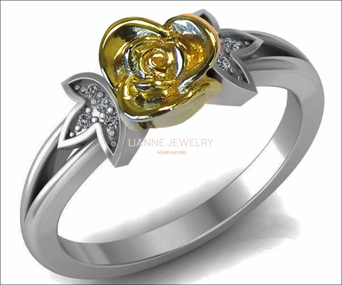 Superb Infinity Engagement Ring 18K Yellow Rose Edwardian Floral ring Flower Ring in White Gold Leaves Ring Edwardian Floral ring - Lianne Jewelry