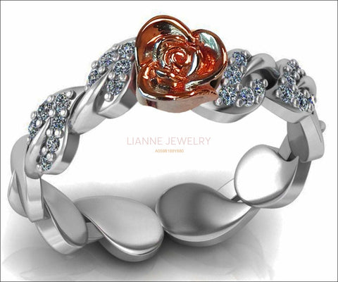 Two Tone Rose & White Gold Flower Ring Lovers Ring Unique Bella Ring with Side Diamonds Floral ring Birthday Gift For Her - Lianne Jewelry