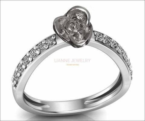 Engagement Ring White Gold Contour Love Flower Curved 18K Ring Rose Gold with Side Diamonds Floral ring Birthday Gift For Her graduation - Lianne Jewelry